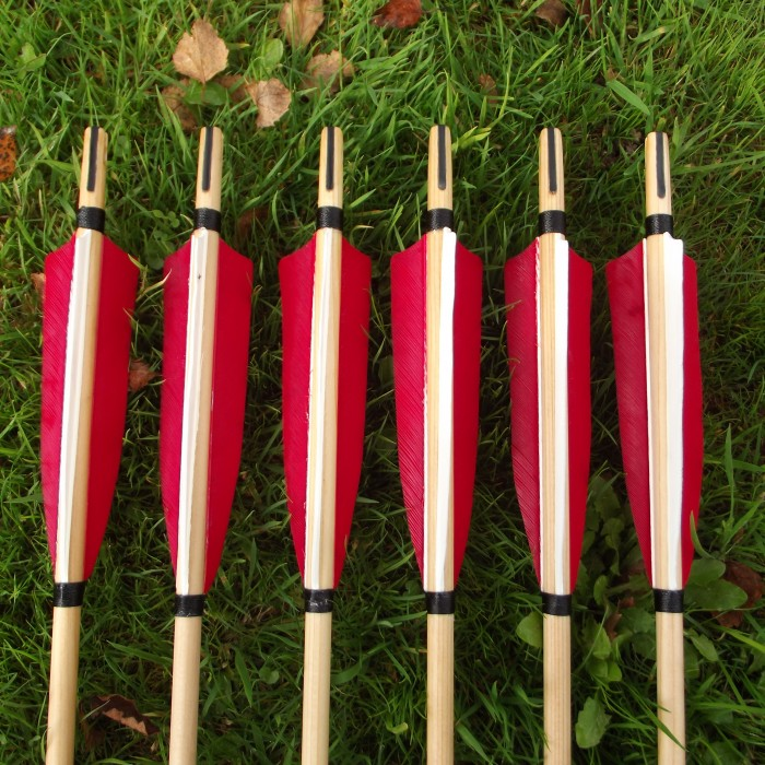 Medieval style Self Nocked Set of Six Arrows
