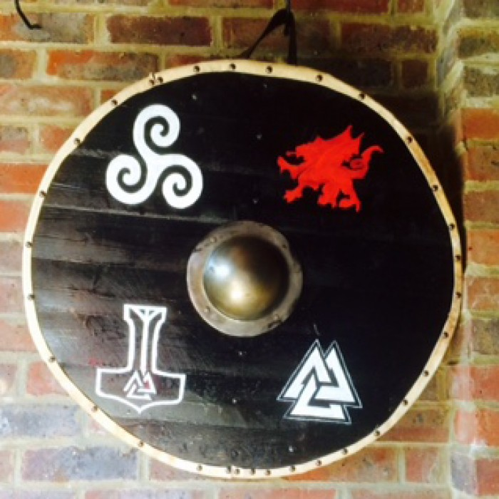 Planked Shield With Hand Painted Symbols